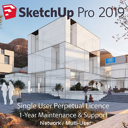 5 x SketchUp Pro 2019 Commercial NETWORK Perpetual Licences