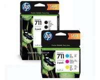 HP 711 T125 T130 T525 T530 Mega Value MultiPack - 2 x 80ml Black  1 x of Each 29ml Colours cartridges