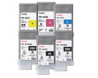 Canon IPF605 Cartrides Value pack - Full Set - 2 x Matte Black 130ml - 1 x Photo Black 130ml -  3 x Colours 130ml